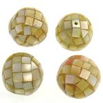 Natürliche gelbe Muschelperlen, rund, gelb, 25-27x25-27mm, Bohrung:ca. 2mm, 10PCs/Tasche, verkauft von Tasche