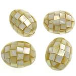 Natürliche gelbe Muschelperlen, oval, gelb, 29-30x22-23mm, Bohrung:ca. 1.5mm, 10PCs/Tasche, verkauft von Tasche