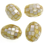 Beads Natyrore Shell Verdha, Oval, asnjë, i verdhë, 25-26x18-19mm, : 2mm, 10PC/Qese,  Qese