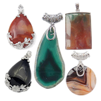 Agate Zinc Alloy Pendants