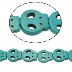 Türkis Perlen, Synthetische Türkis, Schädel, grün, 15x13x4mm, Bohrung:ca. 1mm, ca. 26PCs/Strang, verkauft per ca. 15 ZollInch Strang