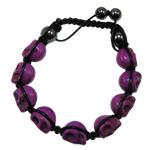 Shamballa Bracelets gur i çmuar, Bruz Natyrore, with Cord Wax & Jo-magnetike kuqe e mbylltë, Kafkë, vjollcë, 9x12x11mm, :7.5Inç,  7.5Inç,