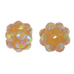 Beads diamant i rremë Rrëshirë, Rrëshirë diamant i rremë, Round, asnjë, me diamant i rremë, i verdhë, 8x10mm, : 1.5mm, 100PC/Qese,  Qese