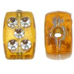 Theks Silver Beads akrilik, Drejtkëndësh, theks argjendi, i verdhë, 8x12x4mm, : 1.2-1.5mm,  Qese