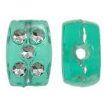 Theks Silver Beads akrilik, Drejtkëndësh, theks argjendi, e gjelbër, 8x12x4mm, : 1.2-1.5mm,  Qese