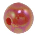 Beads praruar akrilik, Round, colorful kromuar, qetë, i kuq, 12mm, : 2mm, 500PC/Qese,  Qese
