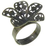 Filigran Brass Ring Base, Tunxh, Ngjyra antike bronz i praruar, asnjë, , nikel çojë \x26amp; kadmium falas, 24x24x5mm, : 17.5mm, :7.5, 100PC/Qese,  Qese