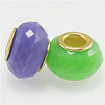 Acrylic Beads European, faceted rondelle, mixed colors, brass core, 15x10mm, Hole:Approx 5MM, 1 bag=500g, Sold by Bag