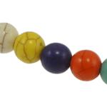 Türkis Perlen, Synthetische Türkis, rund, gemischte Farben, 6mm, Bohrung:ca. 1mm, 66PCs/Strang, verkauft per ca. 15 ZollInch Strang