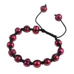 Ujërave të ëmbla Pearl Shamballa Bracelets, Pearl kulturuar ujërave të ëmbla, with Cord Wax, Shape Tjera, i lyer, i kuq, 7-11mm, :7Inç,  7Inç,
