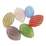 Beads lulëzim Lampwork, Oval, punuar me dorë, ngjyra të përziera, 26x15mm-28x17mm,, : 1-2mm, 100PC/Qese,  Qese