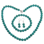 Turquoise Jewelry Sets, Round, dyed, blue, necklace & bracelet & earrings, with zinc alloy & iron component, 8mm, Length:approx 7.5, 17 Inch, Sold by Set
