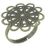 Filigran Brass Ring Base, Tunxh, Ngjyra antike bronz i praruar, asnjë, , nikel çojë \x26amp; kadmium falas, 23x23mm, 3mm, : 17.2mm, :7, 200PC/Qese,  Qese