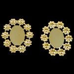 Tunxh Settings Cabochon, Lule, ngjyrë ari praruar, asnjë, , nikel çojë \x26amp; kadmium falas, 25x21.2x1.5mm, 14x10mm, : 14x10mm, 300PC/Qese,  Qese