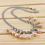 Ujërave të ëmbla Pearl gjerdan Zinxhiri tunxh, Pearl kulturuar ujërave të ëmbla, Round, rozë, 8-9mm, :15Inç,  15Inç,