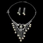 Natyrore kulturuar Pearl ujërave të ëmbla bizhuteri Sets, Pearl kulturuar ujërave të ëmbla, with Diamant i rremë, Round, natyror, e bardhë, 7-8mm, 41mm, :17.5Inç,  I vendosur