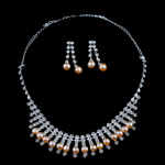 Natyrore kulturuar Pearl ujërave të ëmbla bizhuteri Sets, Pearl kulturuar ujërave të ëmbla, with Diamant i rremë, Round, natyror, rozë, 6-7mm, 7-8mm, :17.5Inç,  I vendosur