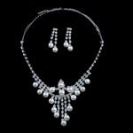 Natyrore kulturuar Pearl ujërave të ëmbla bizhuteri Sets, Pearl kulturuar ujërave të ëmbla, Round, e bardhë, 8-9mm, 42mm, :17.5Inç,  I vendosur