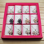 Ujërave të ëmbla Pearl gjerdan Zinxhiri tunxh, Pearl kulturuar ujërave të ëmbla, Round, ngjyra të përziera, 36x53mm, 6-10mm, :16Inç, 12Fillesat/Kuti,  Kuti