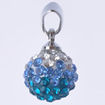 Varëse diamant i rremë, Round, punuar me dorë, me diamant i rremë, Lt Sapphire, 10x19mm, : 3x5mm, 10PC/Qese,  Qese