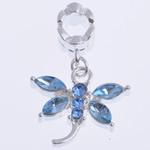 Zink Alloy European Pendants, Alloy zink, Kafshë, me diamant i rremë, , nikel çojë \x26amp; kadmium falas, 28x20x6mm, : 5mm, 10PC/Qese,  Qese