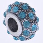 Beads European aliazh zink, Alloy zink, Rondelle, pa karrem & me diamant i rremë, , nikel çojë \x26amp; kadmium falas, 13x8mm, : 5mm, 10PC/Qese,  Qese