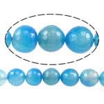 Natürliche blaue Achat Perlen, Blauer Achat, rund, facettierte, blau, 16mm, Bohrung:ca. 1.5-2mm, Länge:ca. 15 ZollInch, 5SträngeStrang/Menge, verkauft von Menge