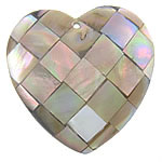 Pendants Natyrore Zi Shell, Black Shell, Zemër, approx 32x32x6mm, : 1.5mm, 10PC/Qese,  Qese