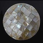 Pendants Natyrore Shell Verdha, Monedhë, natyror, approx 49x49x7.5mm, : 1.3mm, 10PC/Qese,  Qese