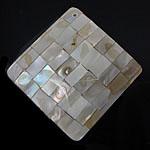 Pendants Natyrore Shell Verdha, Romb, natyror, approx 55x55x6.5mm, : 1.5mm, 10PC/Qese,  Qese