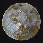 Pendants Natyrore Shell Verdha, Monedhë, natyror, approx 54x54x8.5mm, : 2mm, 10PC/Qese,  Qese