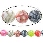 Beads Shell Rrëshirë, Rrëshirë Shell, Round, asnjë, ngjyra të përziera, approx 12mm, : 1mm, : 15.5Inç, 10Fillesat/Shumë,  Shumë