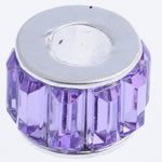 Beads European aliazh zink, Alloy zink, Rondelle, aliazh zink core vetme pa karrem & me diamant i rremë akrilik, , nikel çojë \x26amp; kadmium falas, 12x10mm, : 5mm, 10PC/Qese,  Qese