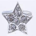 Beads European aliazh zink, Alloy zink, Yll, pa karrem & me diamant i rremë, , nikel çojë \x26amp; kadmium falas, 12x9mm, : 5mm, 10PC/Shumë,  Shumë