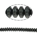 Nicht-magnetische Hämatit Perlen, Non- magnetische Hämatit, Rondell, schwarz, Grade A, 6x3mm, Bohrung:ca. 1.5mm, Länge:15.5 ZollInch, 10SträngeStrang/Menge, verkauft von Menge