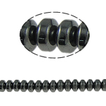 Magnetische Hämatit Perlen, Rondell, schwarz, Grade A, 6x4mm, Bohrung:ca. 1.5mm, Länge:15.5 ZollInch, 10SträngeStrang/Menge, verkauft von Menge