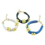 Cord Bracelets PU, Shape Tjera, asnjë, asnjë, ngjyra të përziera, 15.3x7mm, 4mm, :7-8.5Inç, 10Fillesat/Qese,  Qese