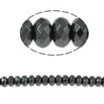 Beads magnetik kuqe e mbylltë, Rondelle, e zezë, Një, 6x4mm, : 1.5mm, :15.5Inç, 10Fillesat/Shumë,  Shumë