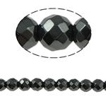 Nicht-magnetische Hämatit Perlen, Non- magnetische Hämatit, rund, schwarz, Grade A, 6x6mm, Bohrung:ca. 1.5mm, Länge:15.5 ZollInch, 10SträngeStrang/Menge, verkauft von Menge