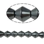 Magnetische Hämatit Perlen, Non- magnetische Hämatit, Doppelkegel, schwarz, Grade A, 10x10mm, Bohrung:ca. 1.5mm, Länge:15.5 ZollInch, 10SträngeStrang/Menge, verkauft von Menge