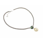 Akoya kulturuar Pearl gjerdan, Perlat Akoya kulturuar, with 925 Sterling Silver, Round, natyror, e bardhë, AAA, 13-15mm, :15.5Inç,  15.5Inç,