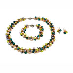 Sets bizhuteri kristal, Pearl kulturuar ujërave të ëmbla, with Kristal, ngjyra të përziera, 7-10mm, 17x35mm, :18Inç,  7.5Inç,  I vendosur