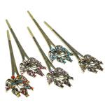 Stick flokët, Alloy zink, with Tunxh, i praruar, me diamant i rremë, dritë gri, , nikel çojë \x26amp; kadmium falas, 157x46x10mm, 12PC/Qese,  Qese