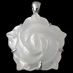 Pendants Natyrore White Shell, Lule, natyror, e bardhë, 24x24x6mm, : 5x4mm, 10PC/Qese,  Qese