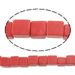Beads Natyrore Coral, Coral sintetike, Kub, asnjë, i kuq, 4x4x4mm, : 1mm, : 16Inç, 94PC/Fije floku,  16Inç,
