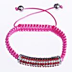 Tunxh Shamballa Bracelets, with Jo-magnetike kuqe e mbylltë & Tunxh, Shape Tjera, me diamant i rremë, rozë, , nikel çojë \x26amp; kadmium falas, 45x9x10mm, :7Inç, 10Fillesat/Qese,  Qese