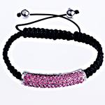 Tunxh Shamballa Bracelets, with Jo-magnetike kuqe e mbylltë & Tunxh, Shape Tjera, me diamant i rremë, e zezë, , nikel çojë \x26amp; kadmium falas, 45x9x10mm, :7Inç, 10Fillesat/Qese,  Qese