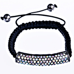 Tunxh Shamballa Bracelets, with Cord Wax & Jo-magnetike kuqe e mbylltë, Shape Tjera, me diamant i rremë, e zezë, , nikel çojë \x26amp; kadmium falas, 45x9x10mm, :7Inç, 10Fillesat/Qese,  Qese