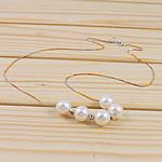 925 Sterling Silver gjerdan perlash, Pearl kulturuar ujërave të ëmbla, e bardhë, 8-9mm, :15.5Inç,  15.5Inç,