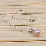 925 Sterling Silver gjerdan perlash, Pearl kulturuar ujërave të ëmbla, with Diamant i rremë & 925 Sterling Silver, Lot, natyror, rozë, 11-12mm, :15.5Inç,  15.5Inç,